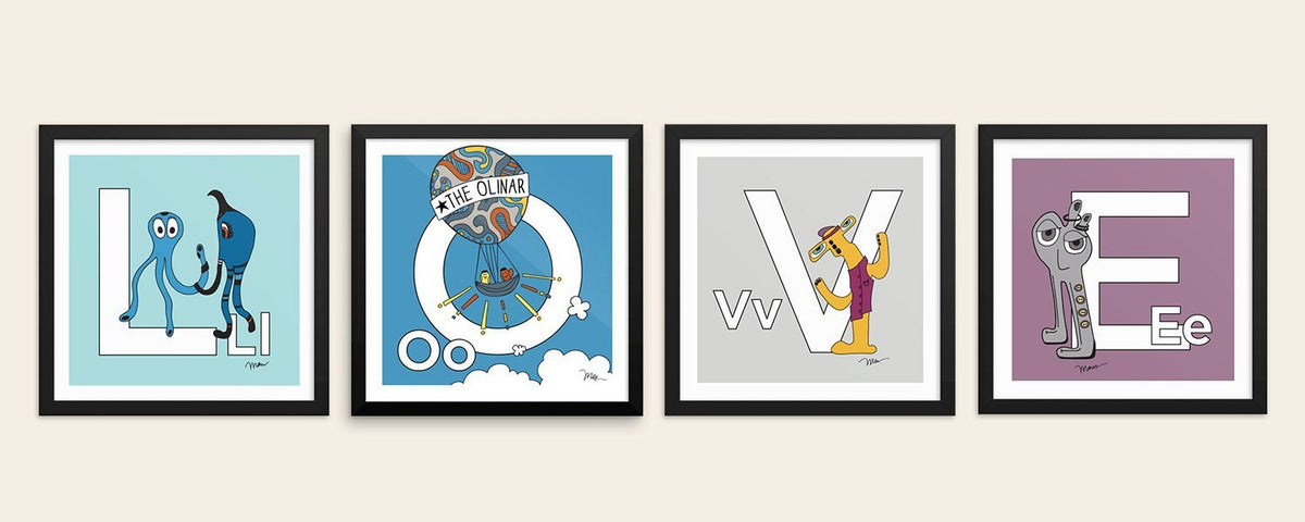 Alphabet art prints with a story. From The MoMeMans® ZYX Project by Monica Escobar Allen.