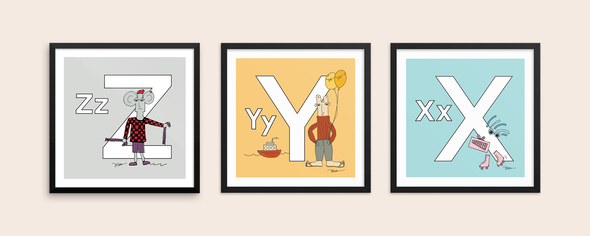 The MoMeMans® ZYX Project Alphabet Art Prints by Monica Escobar Allen