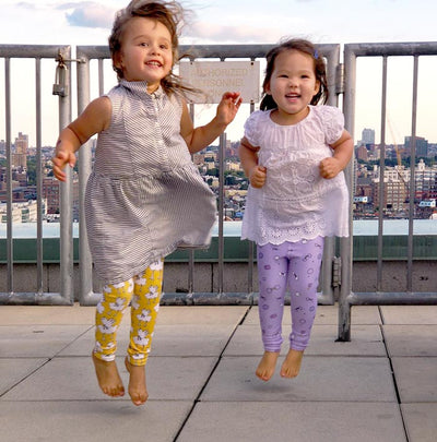 The MoMeMans Kids Leggings! Jumping Pants, Dance Pants, Play Pants! These are some fun pants! By Monica Escobar Allen. Made in the USA.