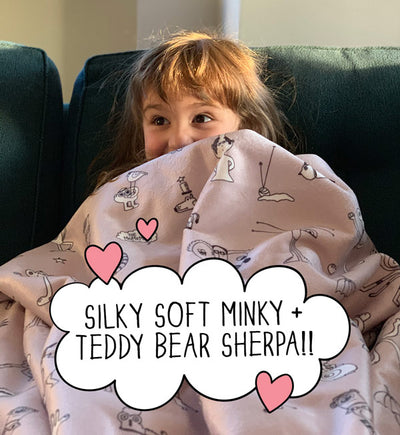 The MoMeMans® Teddy Bear Sherpa SHH™ Blankets. For Snuggly Happy Humans. Born in Brooklyn.