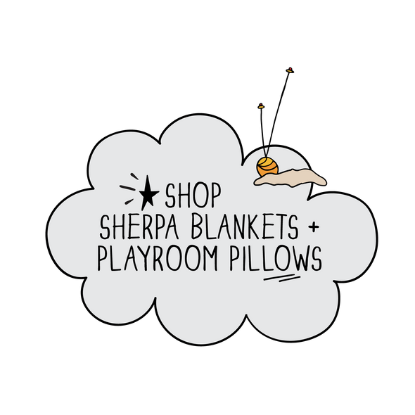 Shop Gender Neutral Teddy Bear Sherpa SHH Baby Blankets and Playroom Pillows from The MoMeMans®.
