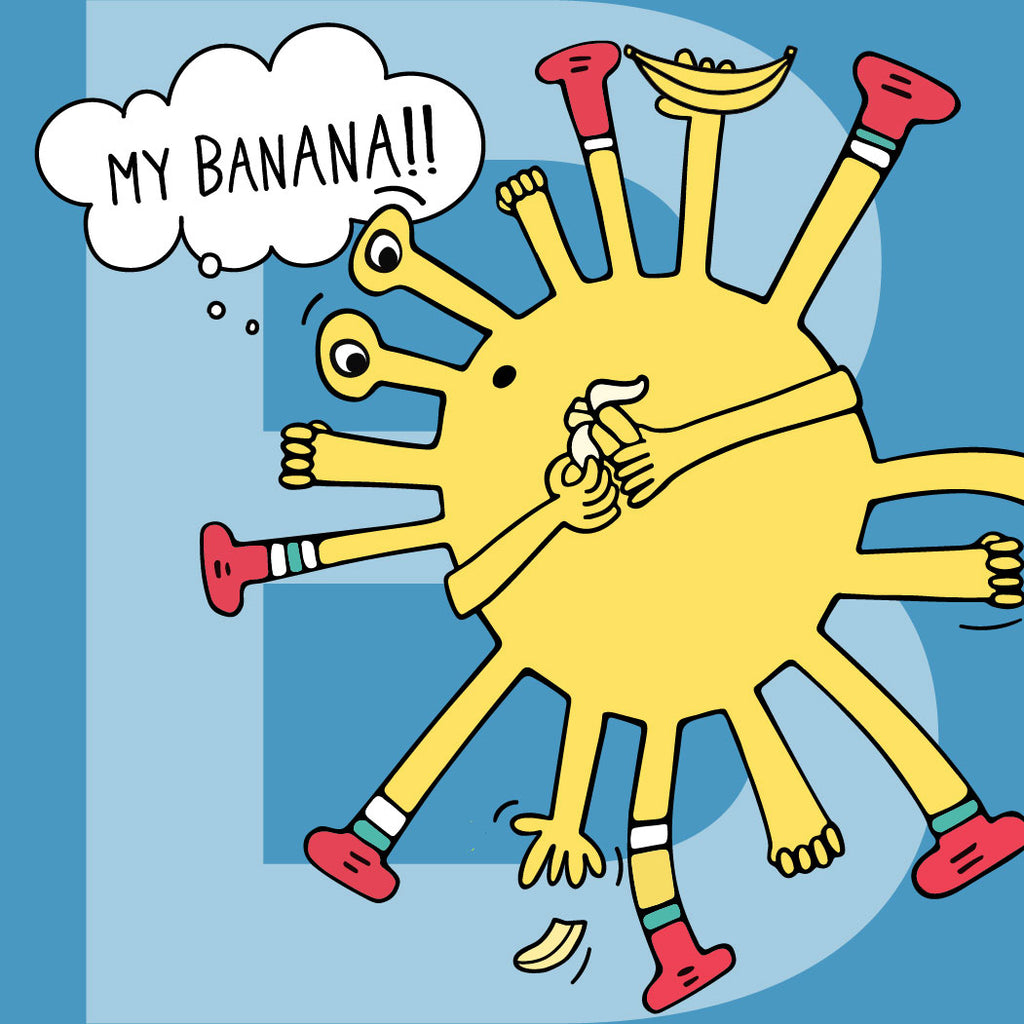 """""""My banana!!"""" Bea thinks after she tried to catch the broken banana from falling on the floor."""