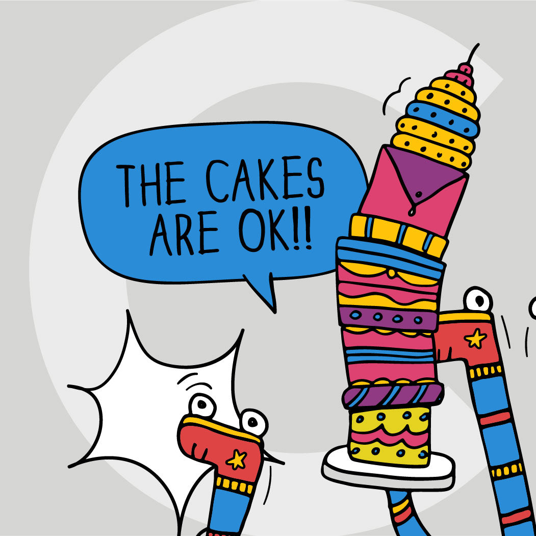 """The cakes are ok!!"" announces Camila from the ground – holding up stacks of cakes!"