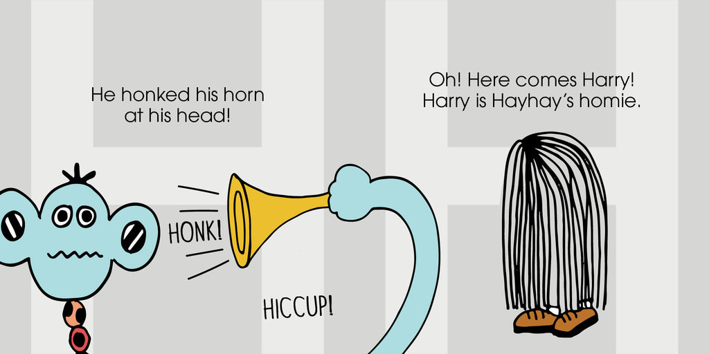The MoMeMans ZYX Project. The Letter H: Hayhay + Harry by Monica Escobar Allen. Everyone has their own cure for the hiccups. Do any of them work?
