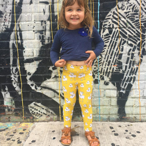 Barbara Birdie Child Leggings in Sunshine from a place called MoMeMa by Monica Escobar Allen in Brooklyn, NY