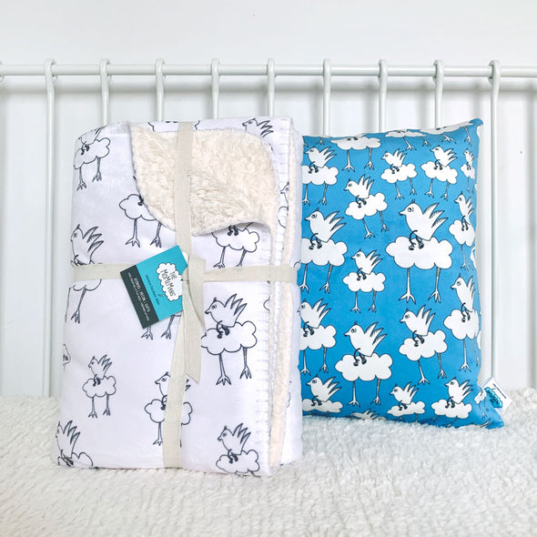 The MoMeMans® Barbara Birdie Teddy Bear Sherpa SHH™ Kids Blanket and Velveteen Playroom Pillow by Monica Escobar Allen
