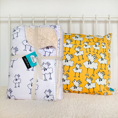 Barbara Birdie Sherpa Kid's Blanket + Playroom Pillow Gift Bundle from The MoMeMans® by Monica Escobar Allen.