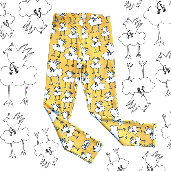Kids Yoga Pants, Barbara Birdie. The MoMeMans® Sizes 2T-6x