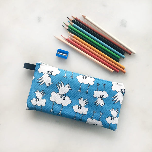 The MoMeMans® Barbara Birdie Machine Washable School Friendly Pencil Case by Monica Escobar Allen