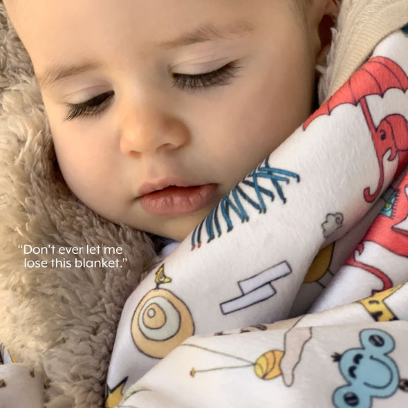 The MoMeMans® Signature Teddy Bear Sherpa SHH™ Baby Blanket by Monica Escobar Allen. Unisex, gender neutral.