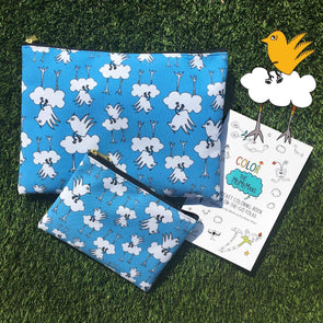 The MoMeMans® Barbara Birdie Zipper Pouch by Monica Escobar Allen