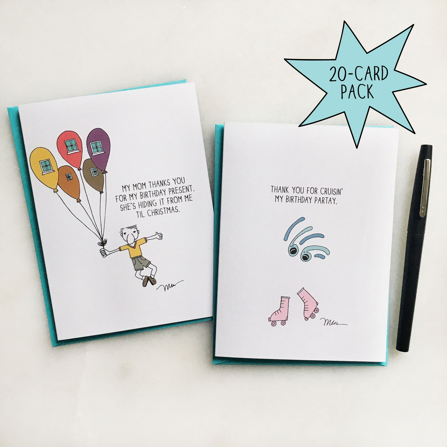 Birthday Party Thank You Cards 20 Pack