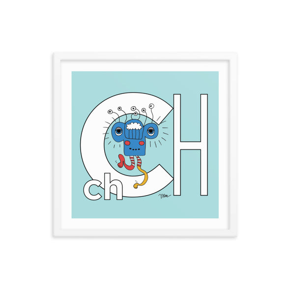 18x18 Framed Letter Ch Art Print, Banana, featuring Charlie from the ZYX Project. For Nursery Rooms, Kids Rooms and Playrooms.