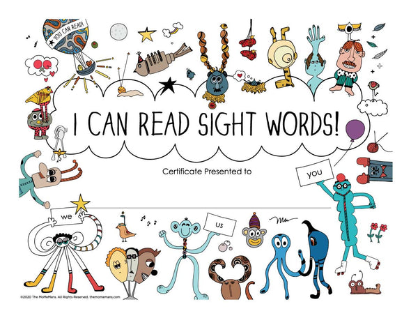 I Can Read Sight Words! Certificate. The MoMeMans® by Monica Escobar Allen