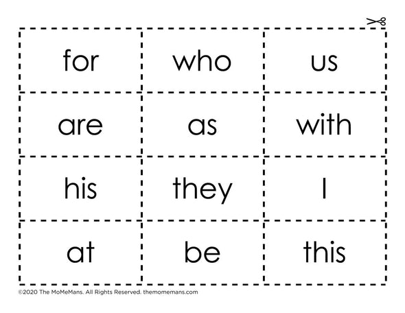I Can Read Sight Words! Cut Out Flash Cards. The MoMeMans® by Monica Escobar Allen