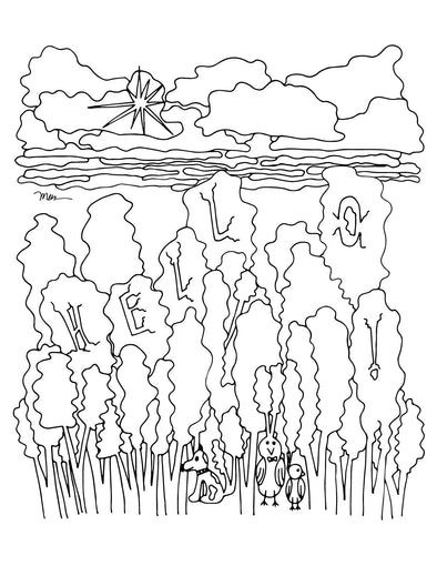 Friendly Forest FREE Printable Coloring Page. The MoMeMans® by Monica Escobar Allen.