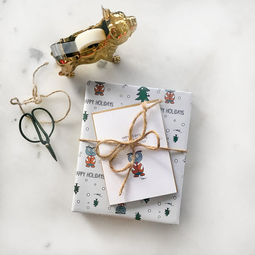 The MoMeMans® Happy Holidays Gift Wrap by Monica Escobar Allen