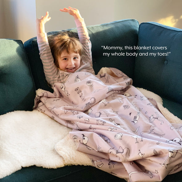 The MoMeMans Signature Teddy Bear Sherpa SHH™ Kids Blanket, Color Dusk
