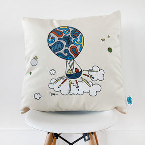 Olinda + Omar Velveteen Pillow for kid's rooms and playrooms. For play time, story time, music time and fun times. The MoMeMans® by Monica Escobar Allen.