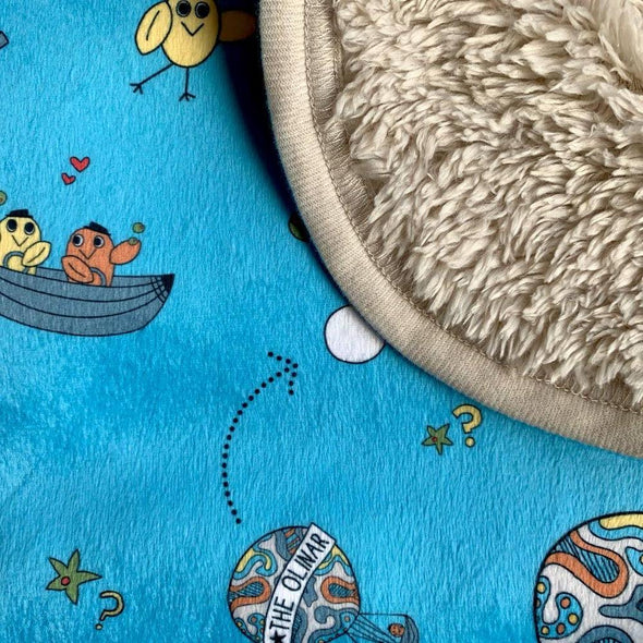 The MoMeMans® Olinda + Omar Teddy Bear Sherpa SHH™ Baby Blanket by Monica Escobar Allen. Unisex, gender neutral.