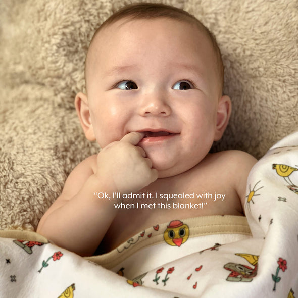 The MoMeMans® Pete + Pete Teddy Bear Sherpa SHH™ Baby Blanket by Monica Escobar Allen. Unisex, gender neutral.