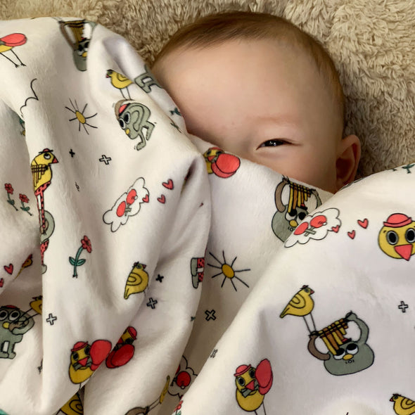 The MoMeMans® Pete + Pete Baby Sherpa Blanket by Monica Escobar Allen