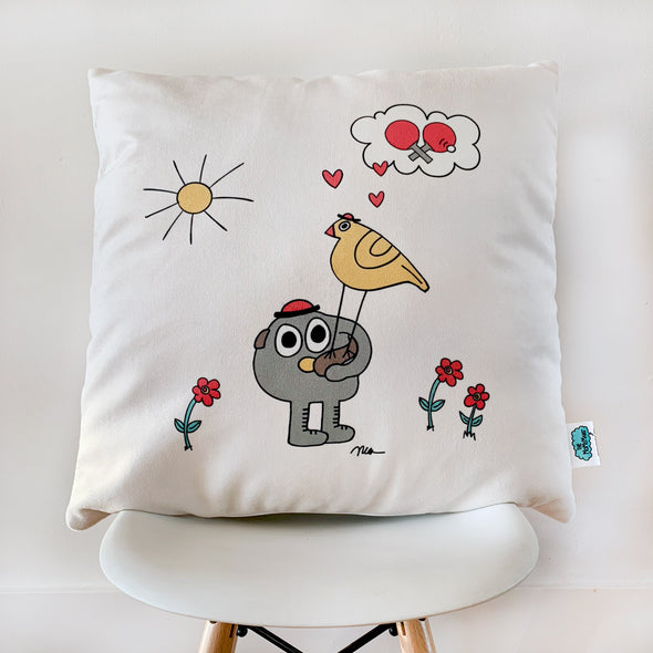 The MoMeMans® Pete + Pete Velveteen Pillow Case by Monica Escobar Allen