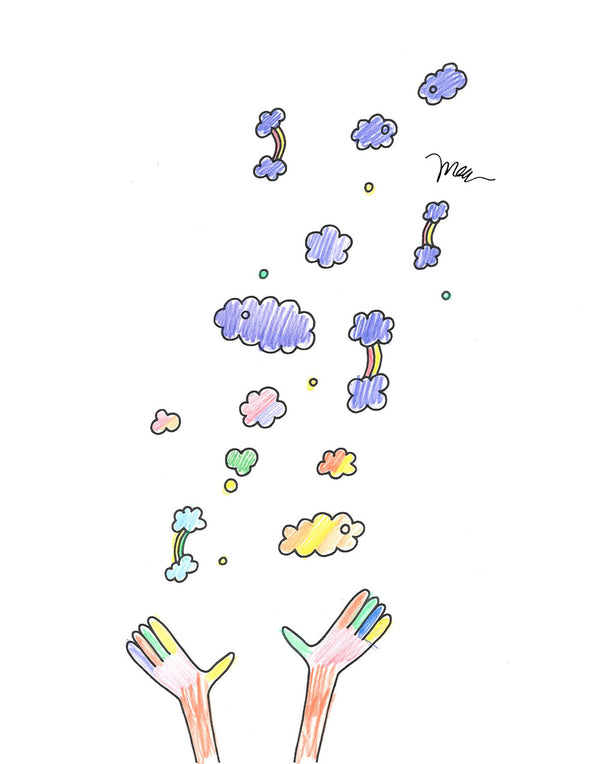 FREE Printable Throwing Rainbows Coloring Page Colored. The MoMeMans® by Monica Escobar Allen.