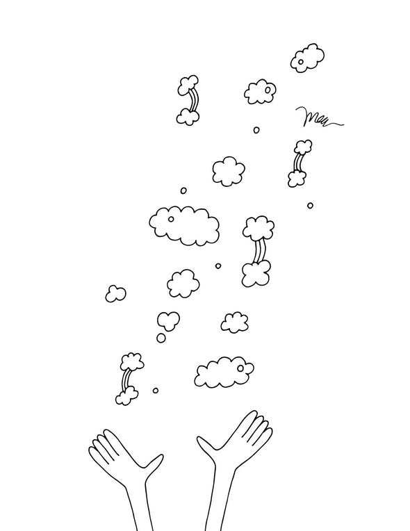 FREE Printable Throwing Rainbows Coloring Page. The MoMeMans® by Monica Escobar Allen.