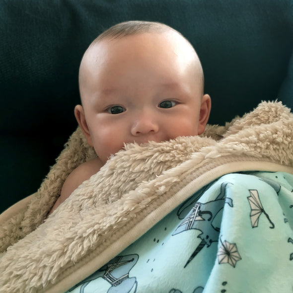 The MoMeMans™ Ulysses Ulinsky Sherpa Baby Blanket by Monica Escobar Allen