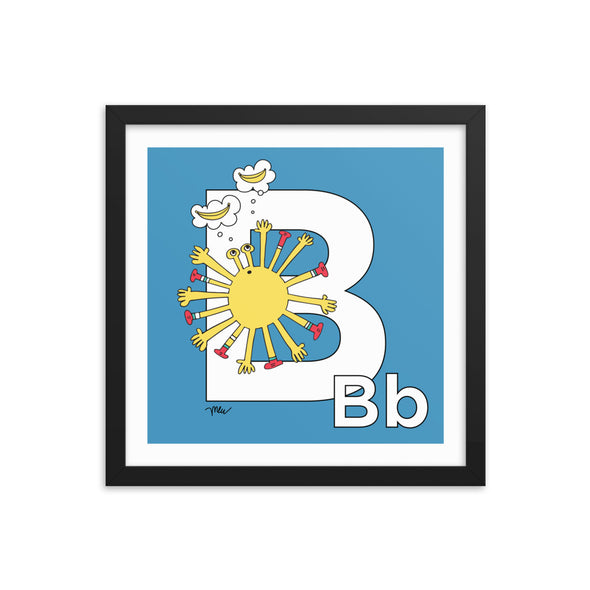 Letter B Art Print, Grey, featuring Bea. For Nursery Rooms, Kids Rooms and Playrooms. The MoMeMans® Stories, Decor and Gifts for Creative Little Kids and Grown-up Kids by Monica Escobar Allen.