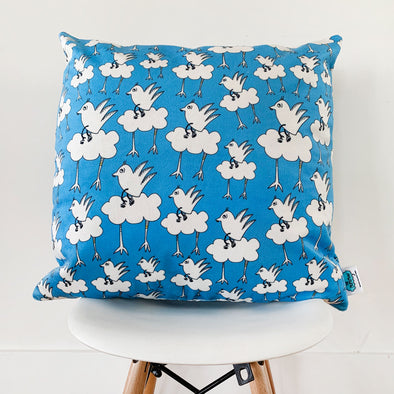 Barbara Blue Super Lux Velveteen Pillow for kids' rooms and playrooms. The MoMeMans® by Monica Escobar Allen.