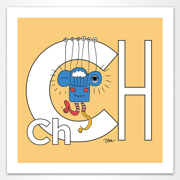 Letter Ch Art Print, Banana, featuring Charlie. For Nursery Rooms, Kids Rooms and Playrooms.