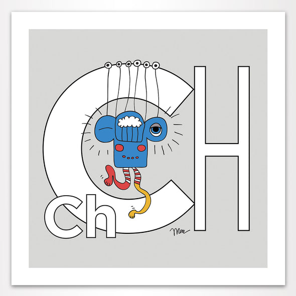 Letter Ch Art Print, Grey, featuring Charlie. For Nursery Rooms, Kids Rooms and Playrooms.
