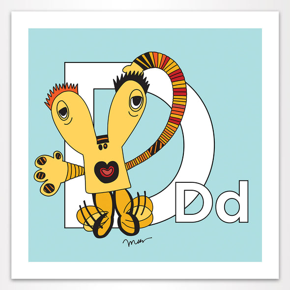 Letter D Art Print, Aqua, featuring Dee + Dancipants. For Nursery Rooms, Kids Rooms and Playrooms.