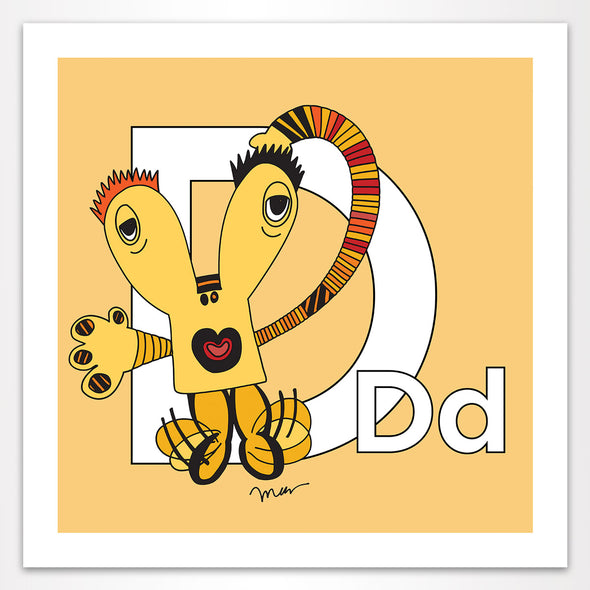 Letter D Art Print, Banana, featuring Dee + Dancipants. For Nursery Rooms, Kids Rooms and Playrooms.