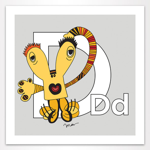 Letter D Art 10x10 Print, Grey, featuring Dee + Dancipants. For Nursery Rooms, Kids Rooms and Playrooms.