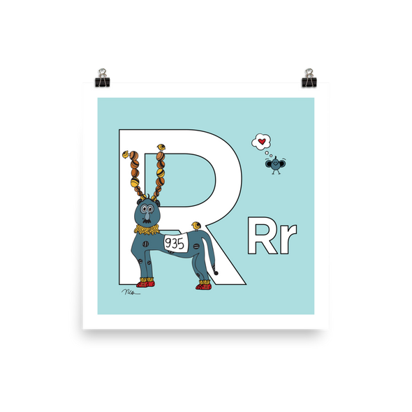 Letter R Print. The MoMeMans® Nursery and Kid's Room Alphabet Wall Art by Monica Escobar Allen.