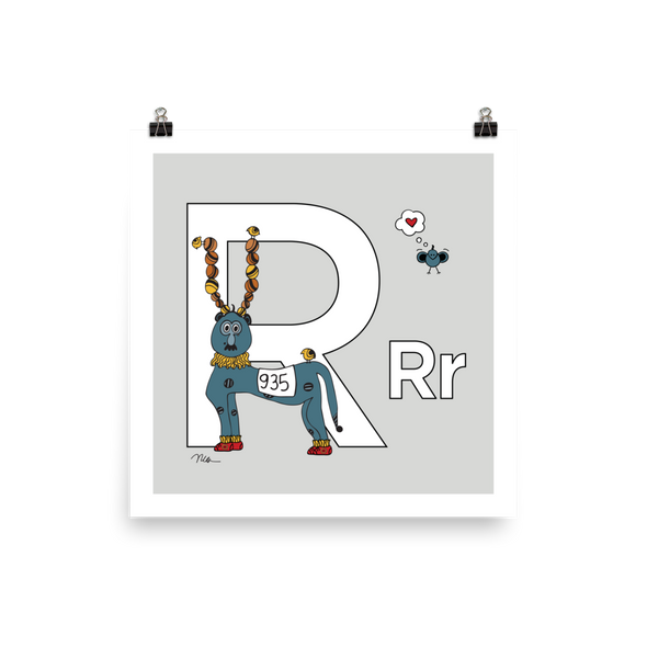 The MoMeMans® Nursery and Kid's Room Letter R Print by Monica Escobar Allen