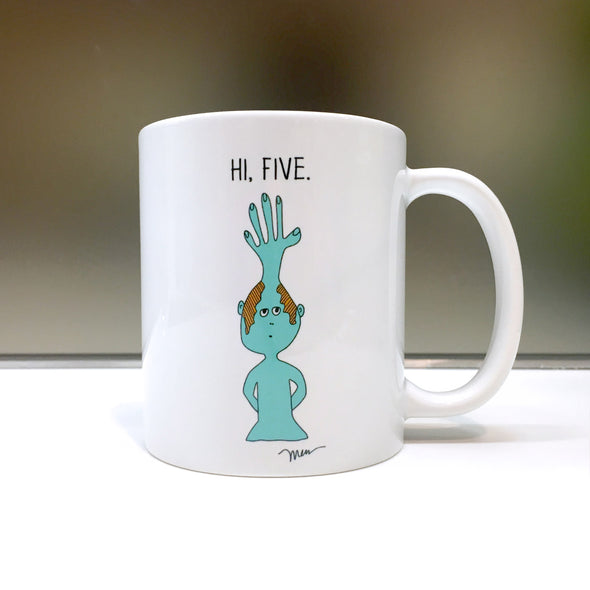 The MoMeMans™ Hi, Five Mug by Monica Escobar Allen
