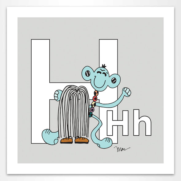 The Letter H Print, Grey. Featuring Hayhay + Harry from the ZYX Project. The MoMeMans® by Monica Escobar Allen.
