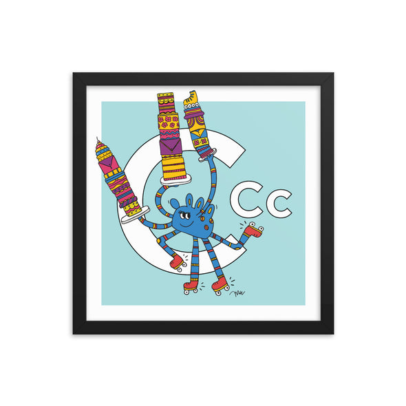 Letter C Art Print, 14x14 Framed, Aqua, featuring Camila. For Nursery Rooms, Kids Rooms and Playrooms.