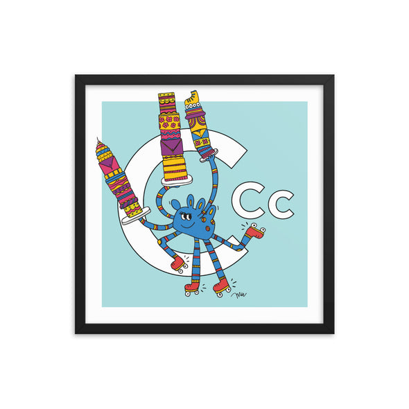Letter C Art Print, 18x18 Framed, Aqua, featuring Camila. For Nursery Rooms, Kids Rooms and Playrooms.