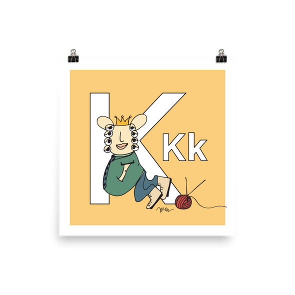 The MoMeMans® Nursery and Kid's Room Letter K Print by Monica Escobar Allen