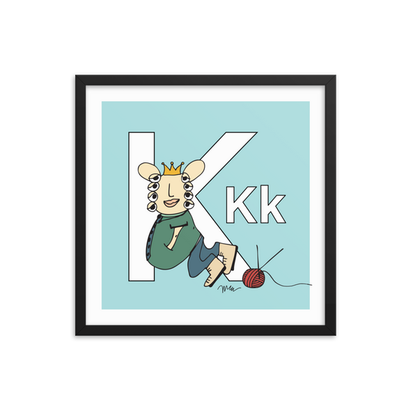 Letter K Print. The MoMeMans® Nursery and Kid's Room Alphabet Wall Art by Monica Escobar Allen