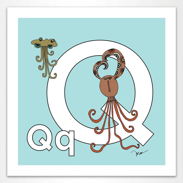Letter Q Print. The MoMeMans® Nursery and Kid's Room Alphabet Wall Art by Monica Escobar Allen.
