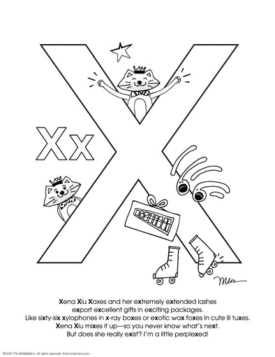 FREE Alphabet Printable Letter X from The MoMeMans® ZYX Project: Alliterative Alphabet Tales with Valuable Life Lessons by Monica Escobar Allen.