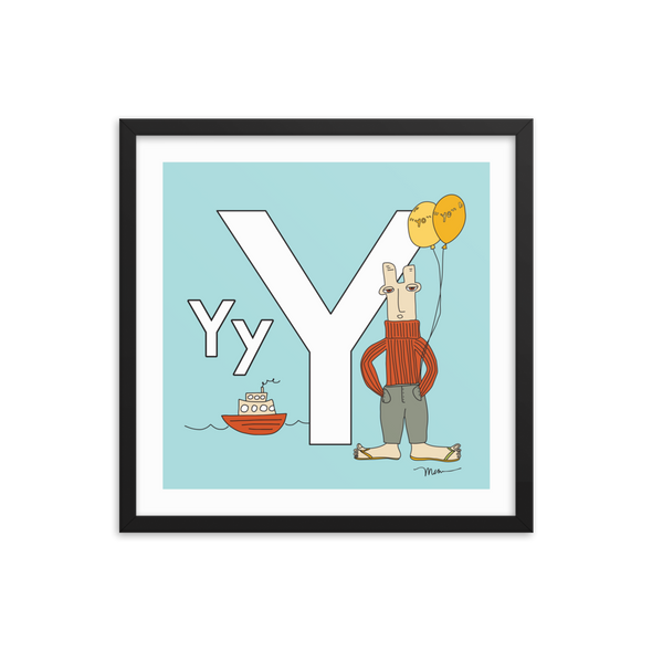 The MoMeMans® Nursery and Kid's Room Letter Y Print by Monica Escobar Allen
