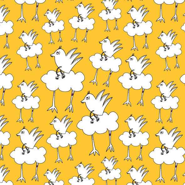 The MoMeMans® Barbara Birdie Kids Textile in Sunshine by Monica Escobar Allen.