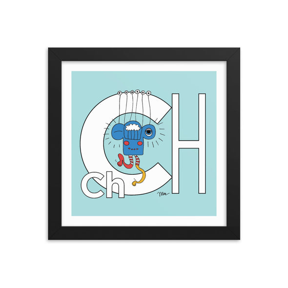 Letter Ch Art Print 10x10 Framed, Aqua, featuring Charlie. For Nursery Rooms, Kids Rooms and Playrooms.